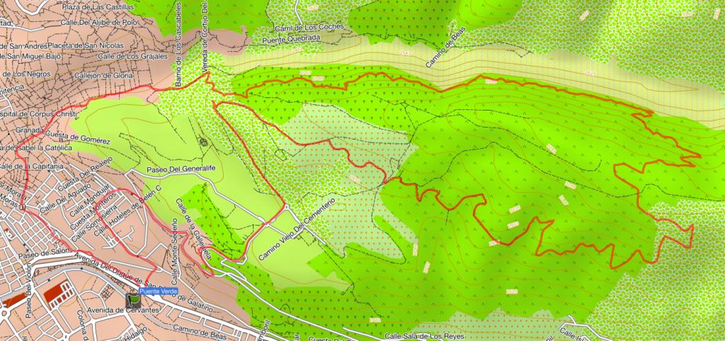 Croquis Ruta Acequia Real Llano de la Perdiz Vereda Franceses