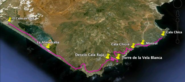 Recorrido Etapa 1: San Miguel del Cabo de Gata - Cala Chica