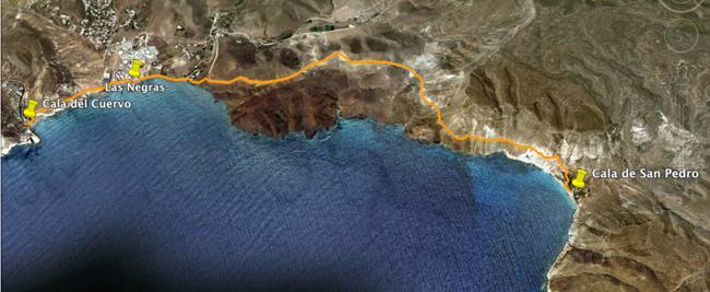 Recorrido Etapa 4. Cala del Cuervo - Cala de San Pedro